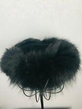 Ladies Vintage Hat Black Velour & Fur Midi by Jan Leslie 1950s 1960s France 22.5