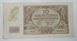 POLAND 10 ZLOTYCH 1940 BANKNOTE