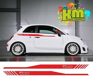 Fiat 500 upper side stripe graphics / decals / stickers - various colours