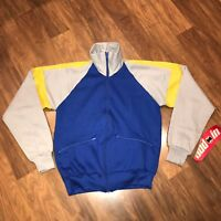 NEW Vtg 70s 80s Gray Blue ADD-IN Tennis Track Jacket Coat Mens SMALL Acrylic NOS
