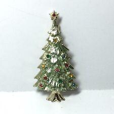 Vintage Rhinestone Christmas Tree Stars Pin Brooch Signed B.J. Green Enamel