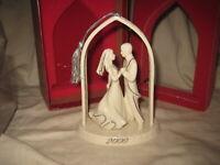 Lenox Commemorate 2000 BRIDE & GROOM Ivory Porcelain & Silver Christmas Ornament