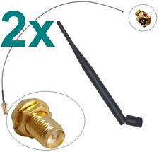 2x Antenne + Adapter Kabel RP-SMA u-FL Wlan WiFi Dualband 2,4 + 5Ghz Pigtail 9db