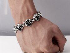 【From USA】9 inch Rocker Biker Gothic Cuban Curb SKULL Stainless Steel Bracelet