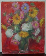 Ancien tableau bouquet de fleurs-huile sur toile signée Mingalon