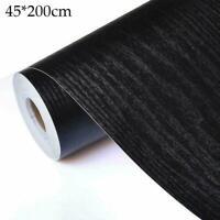 Self Adhesive Film Black Wood Grain Contact Paper Wood Wall Peel Decor D2B4