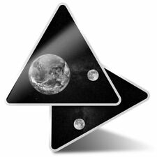 2 x Triangle Stickers  10cm - BW - Earth & Moon Planet Space Globe  #42824