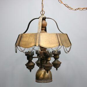 "Vintage 22"" Gothic Medieval Bronze Ceiling Chandelier Lamp Hanging Castle Light"