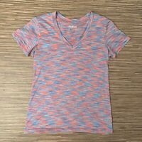 Reebok Women's V-Neck Short Sleeve Shirt Top Blue Multicolor Size Small S EUC