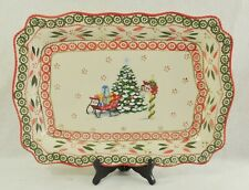 """Large 19"""" Hnd Ptd Temptations Holiday Lace Old World Christmas Serving Platter"""