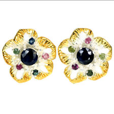 GENUINE MULTI COLOR SAPPHIRE ROUND STERLING 925 SILVER 2-TONE FLOWER EARRING