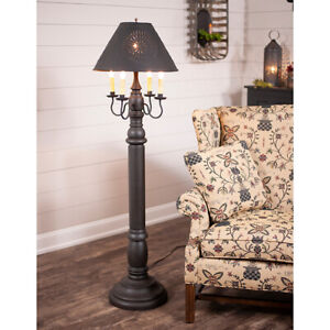 General James Floor Lamp Americana Black with Textured Black Tin Shade