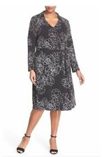 Vince Camuto 'Floral Contour' Print Jersey Wrap Dress (Plus Size) (Size 2X)