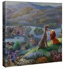 Thomas Kinkade Studio Lady and the Tramp Falling In Love 14x14 Wrapped Canvas