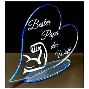 Vatertag Geschenk Bester Papa der Welt  fluoreszierend Acryl Herz mit Gravur