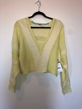 Free People Long Sleeve Cropped Sweater Yellow Heathered Women's Small NWT