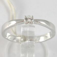 BAGUE EN OR BLANC 750 18K, SOLITAIRE, TIGE AU CARRÉ, DIAMANT, CARAT 0.10