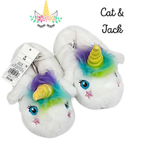 Toddler Girls' Raylee Unicorn Bootie Slippers White - Cat & Jack Size M (7-8)