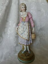 Antique Large Bisque Lady with Bucket Figurine with Anchor Mark FANTASTIC COND.