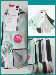 NEW EX M&S Womens Cushioned Trainer Socks 5 pack. Size 3-5 6-8