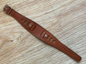 VINTAGE 18 MM NOS BROWN GENUINE LEATHER TRENCH MILITARY RACING CARRERA STRAP