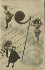 Fantasy Burlesque Women Sheet Music Clef Tinted Real Photo Postcard c1910