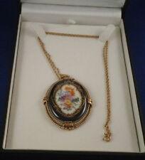 Antique Meissen Porcelain Floral & Gold Pendant Necklace Porzellan Anhaenger