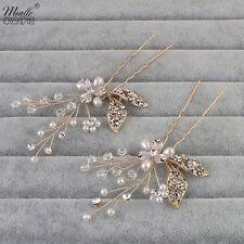 Wedding Bridal Jewellery Shiny Rhinestone Crystal Flower Gold Hair Comb Clip Pin