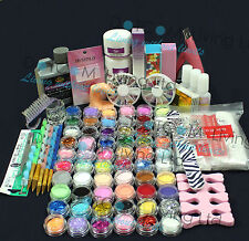 Full 60 Acrylic Powder Glitter Liquid Nail Art Kits Set Tip Brush Glue