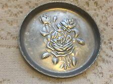Vtg Everlast Metal Hand Forged Hammered Aluminum Coaster Rose Floral