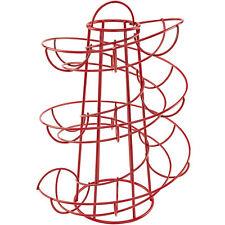 Space Saving Modern Design Egg Skelter Organizer Rack Metal Red Stand Holder