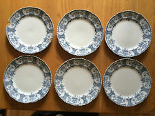 ANTIQUE/VICTORIAN F.WINKLE WHIELDON 'WARWICK' BLUE AND WHITE 9 INCH  PLATES x 6