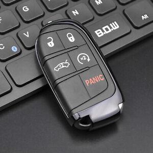 Black TPU Car Remote Smart Key Case Cover For 2011-2021 Jeep Dodge Chrysler Fiat