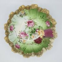 "10 1/2"" Unmarked RS Prussia Roses Porcelain Bowl Gold Gild Edge Antique"