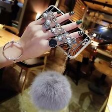 Luxury Bling Make-up Mirror Pearl Fox Fur Plush Strap Chain Soft Back phone Case