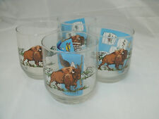 Libbey Rock Sharpe Sunoco AMERICAN WILDLIFE 4 Bison Old Fashioned Tumblers NEW