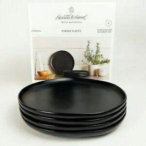 "Set of 4 - Hearth and Hand Magnolia - 10"" Dinner Plates - Matte Black Stoneware"