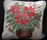 "15"" SQ Handmade Embroidered Wool Needlepoint Pillow Christmas Poinsettia"