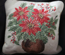 """15"""" SQ Handmade Embroidered Wool Needlepoint Pillow Christmas Poinsettia"""