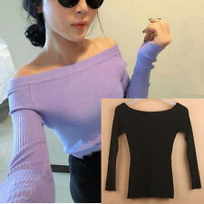 CHINA Rib Knit Off the Shoulder Top Sweater Long Sleeve Black S XS