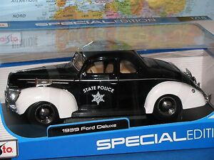 1/18 MAISTO 1939 FORD DELUXE STATE POLICE SPECIAL EDITION DIECAST **BRAND NEW**