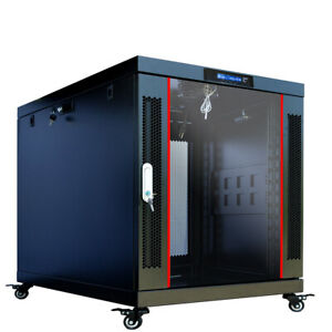 12U 35 Inch Depth Server Rack Cabinet Enclosure - Wheels-Thermosystem-LCD Screen