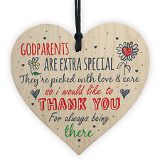 Godparents Godmother Godfather Christening Gift Handmade Wooden Heart Plaque
