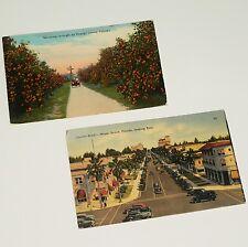 FLORIDA x 2 POSTCARDS - 1916 & 1942 Linen Color MIAMI BEACH / ROADSIDE AMERICANA
