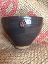 Japanese Tea Ceremony Cup Bowl Brown Blue Swirl Pottery Signed M
