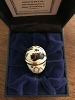 """Vintage Halcyon Days enameled""""Good Luck"""" engagement ring in presentation box"""