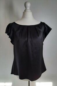 Coast Women's Blouse Size UK 12 Evening Silky Style Flutter Sleeves Black 14