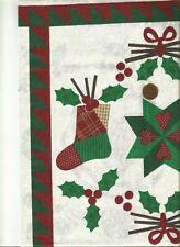 Christmas Sampler Fabric Panel : Wall Hanging Table Topper