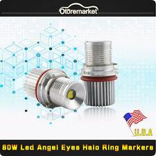 2xWhite Angel Eyes Cree LED Lights Ring Marker Xenon 80W for BMW E39 E60 E61 USA