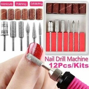 12 Pcs Nail Drill Bits Electric Nail File Cuticle Cutter Tips Manicure Tool US